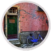 Blue Bicycle Monterosso Italy Dsc02592  Round Beach Towel