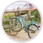 Blue Bike Round Beach Towel