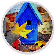 Blue Bird House Round Beach Towel