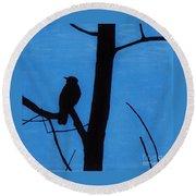 Blue - Silhouette - Bird Round Beach Towel