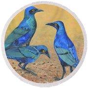 Blue Birds Of Happiness Round Beach Towel