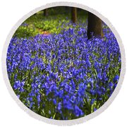 Blue Blue Bells Round Beach Towel