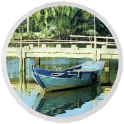 Blue Boat 02 Round Beach Towel