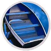 Blue Boat Round Beach Towel