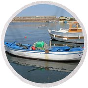 Blue Boat In Sozopol Harbour Round Beach Towel
