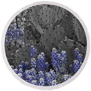 Blue Bonnet Cactus Round Beach Towel