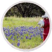 Blue Bonnets Fire Hydrant V2 Round Beach Towel