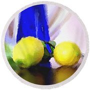 Blue Bottle And Lemons Round Beach Towel by Ben and Raisa Gertsberg