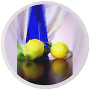 Blue Bottle And Lemons Round Beach Towel
