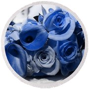 Blue Bouquet Round Beach Towel