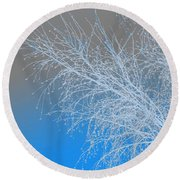 Blue Branches Round Beach Towel
