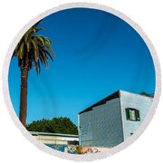 Blue Building In Historic Neighborhood Round Beach Towel