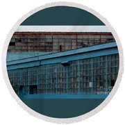 Blue Building Windows Round Beach Towel