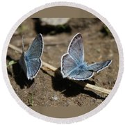 Blue Butterflies Round Beach Towel