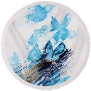 Blue Butterflies Round Beach Towel