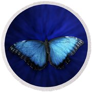 Blue Butterfly Ascending 02 Round Beach Towel