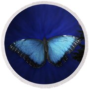Blue Butterfly Ascending Round Beach Towel