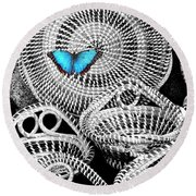 Blue Butterfly Charleston Round Beach Towel