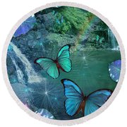 Blue Butterfly Dream Round Beach Towel