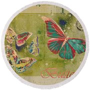Blue Butterfly Etc - S55ct01 Round Beach Towel