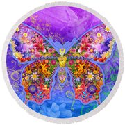 Blue Butterfly Floral Round Beach Towel