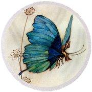 Blue Butterfly II Round Beach Towel by Warwick Goble