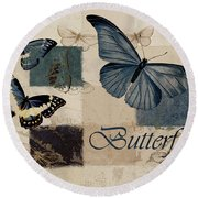 Blue Butterfly - J118118115-01a Round Beach Towel