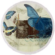Blue Butterfly - J152164152-01 Round Beach Towel