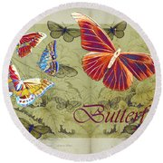 Blue Butterfly - Orange On Green - S02a Round Beach Towel by Variance Collections