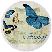 Blue Butterfly - S01a Round Beach Towel