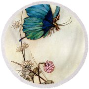 Blue Butterfly Round Beach Towel by Warwick Goble