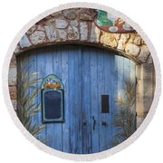 Blue Cafe Doors Round Beach Towel