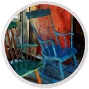 Blue Chair Against Red Door Round Beach Towel