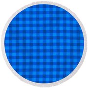Blue Checkered Tablecloth Fabric Background Round Beach Towel