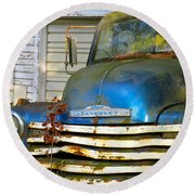 Blue Chevy   Round Beach Towel