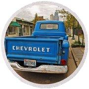 Blue Chevy Tailgate Round Beach Towel