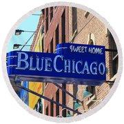 Blue Chicago Club Round Beach Towel
