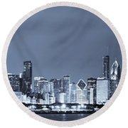Blue Chicago Skyline Round Beach Towel