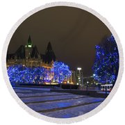 Blue Christmas.. Round Beach Towel