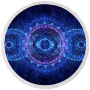 Blue Circle Fractal Round Beach Towel
