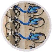 Blue City Bikes Round Beach Towel
