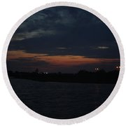Blue Clouds At Night Over Long Island Round Beach Towel