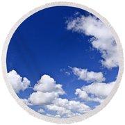 Blue Cloudy Sky Panorama Round Beach Towel