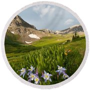 Handie's Peak And Blue Columbine On A Summer Morning Round Beach Towel by Cascade Colors