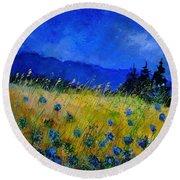 Blue Conflowers 454150 Round Beach Towel