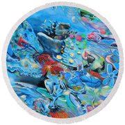 Blue Confusion Round Beach Towel