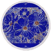 Blue Cosmos Abstract Round Beach Towel