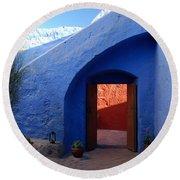 Blue Courtyard Round Beach Towel
