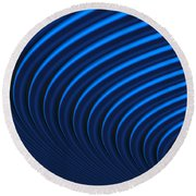 Blue Curves Round Beach Towel