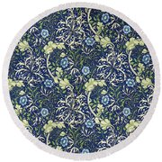 Blue Daisies Design Round Beach Towel by William Morris